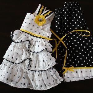 Rare Editions White Black Polka 2 Pc Dress Set
